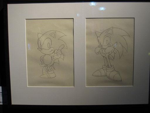 兩個時代的Sonic設定畫,展場兩張圖的說明文字左右放反了。